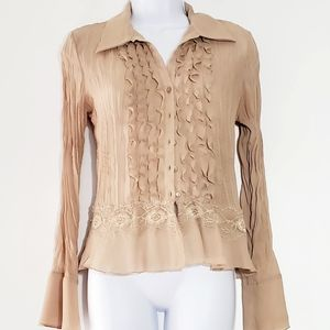 Allison Taylor ruffle  and lace blouse
